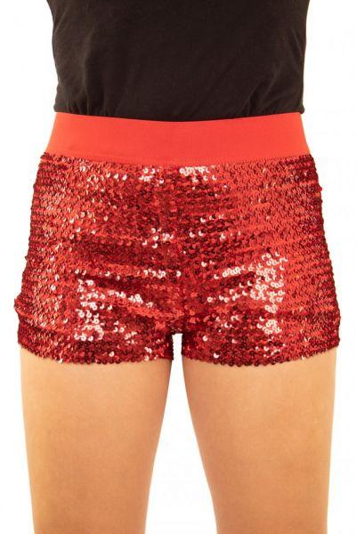 Hotpants met pailletten rood