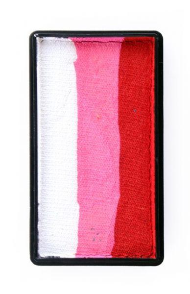 One Stroke splitcake rood pink wit schmink PartyXplosion