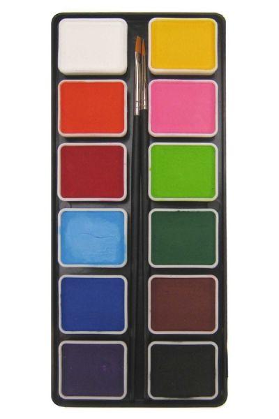 Aqua schminkpallet 12 x 6 gram basiskleuren met 2 penselen