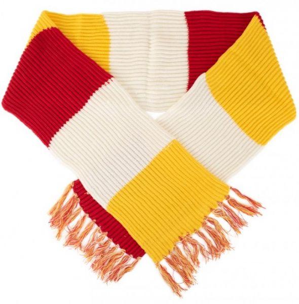 Super grof gebreide sjaal rood wit geel