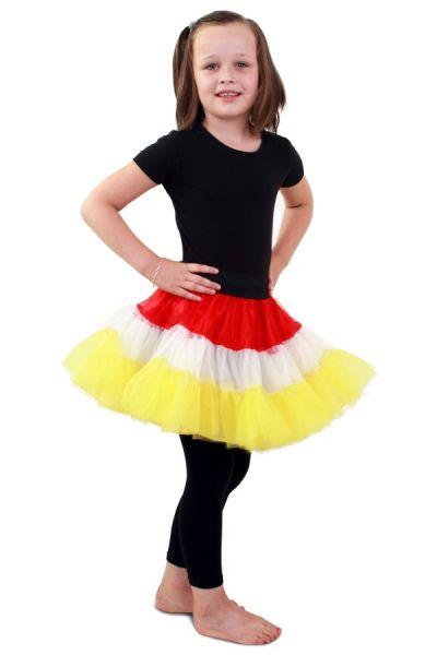 Petticoat rood wit geel 3-laags meisje