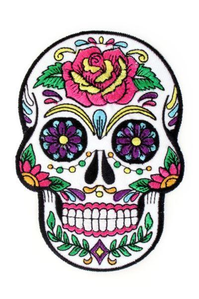 Applicatie sugar skull bloemen