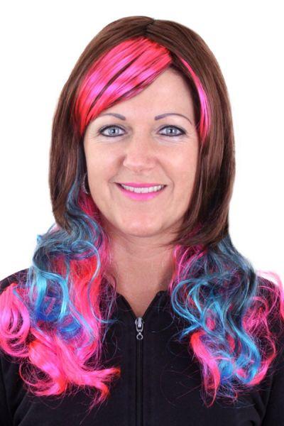 Pruik Lolita Bruin met roze en blauwe lokken