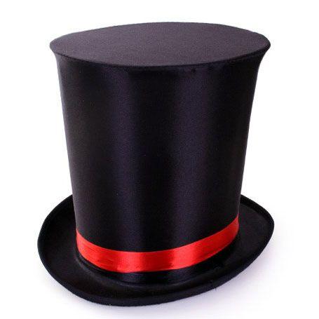 Extra hoge hoed zwart goochelaar circus
