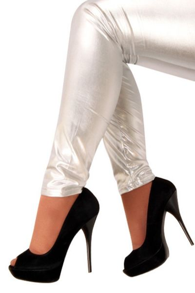 Legging metallic zilver