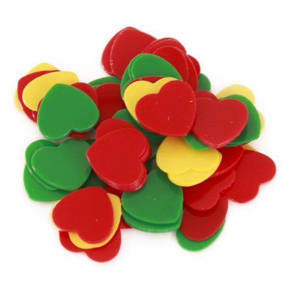 Carnaval Confetti hartjes 6 mm rood geel groen