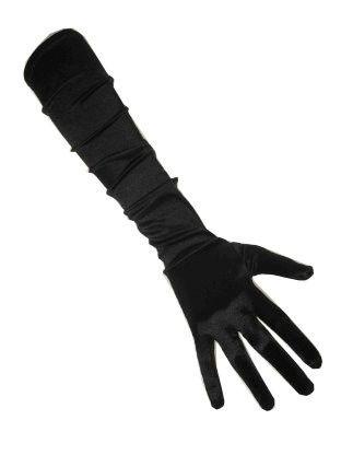 Zwarte satijnen handschoenen