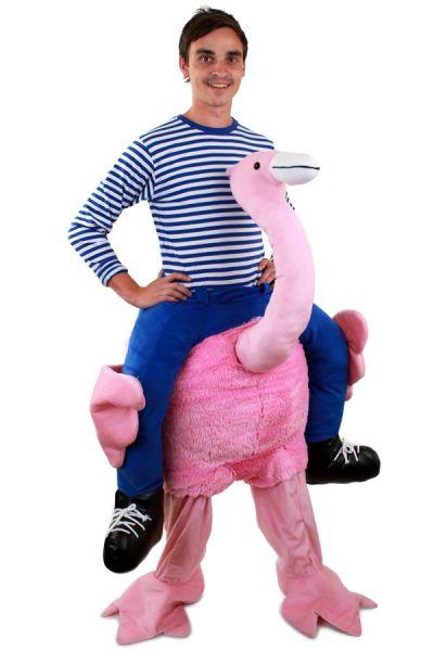 Grappig Piggyback kostuum gedragen door Flamingo