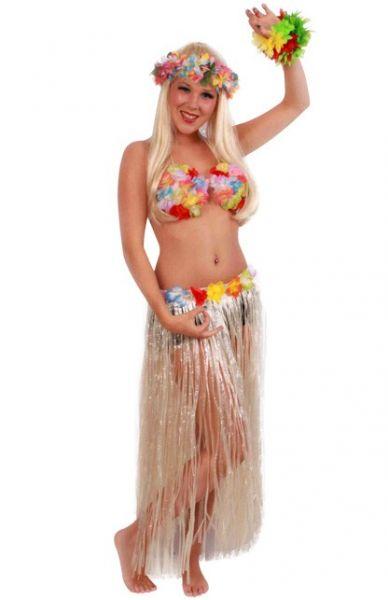 Hawaiiaanse rok lang met gekleurde bloemen