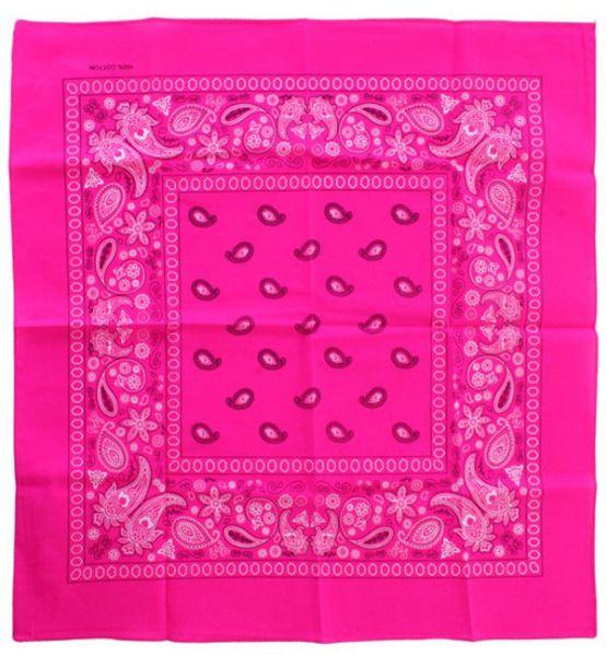 Fluor roze zakdoeken bandana met motief