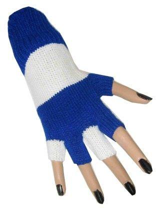 Vingerloze handschoenen blauw wit gestreept