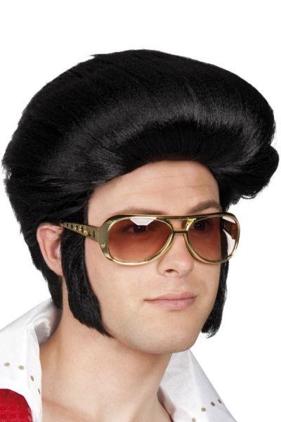 Elvis pruik Rocking Billy zwart
