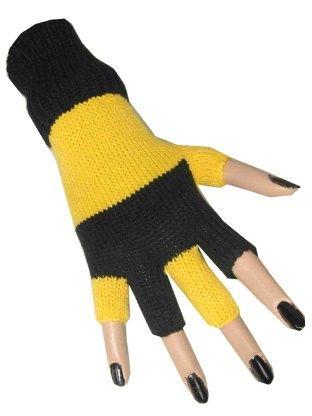 Vingerloze handschoenen geel zwart gestreept