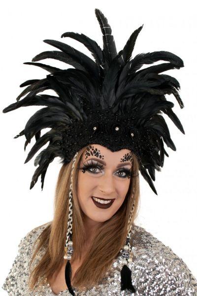 Braziliaanse dans hoofdtooi zwarte veren