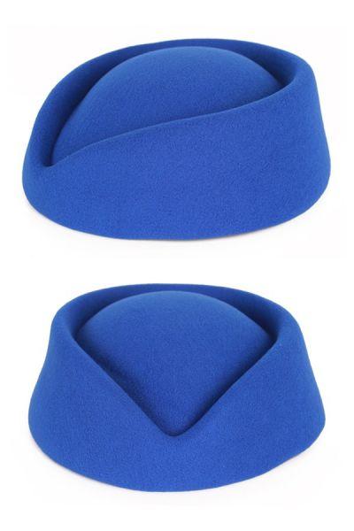 Stewardessen hoed wolvilt blauw