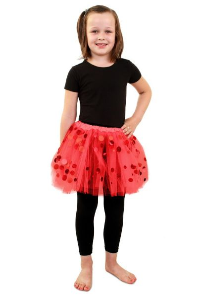 Tule kleedje rood met dots meisjes