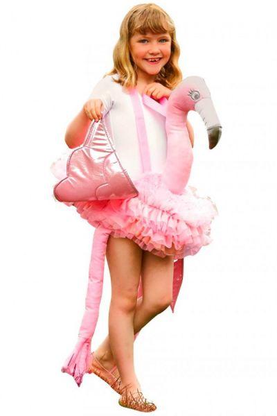 Piggypack verkleedset rijden op een Flamingo kind