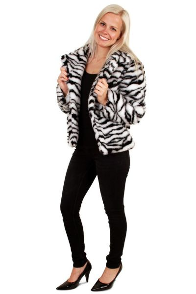 Korte zebraprint bontjas witte tijger