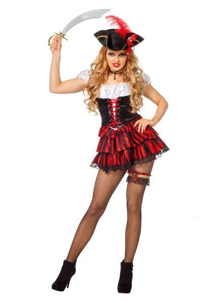 Carnavalskledij Sexy Pirate zwart met rood