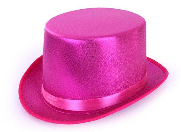 Hoge hoed metallic roze