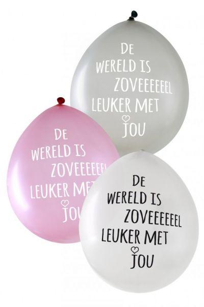Metallic ballonnen De wereld is zoveeeeeel leuker met jou per 24 stuks