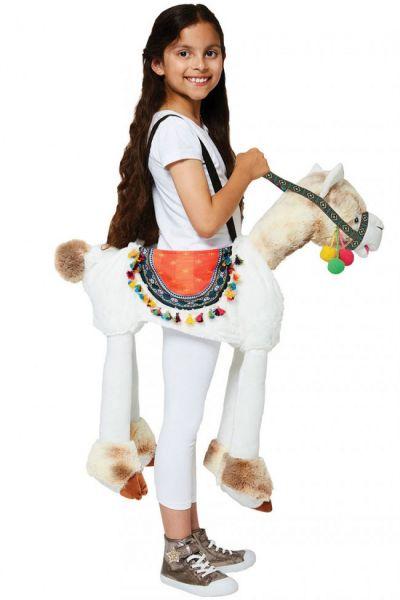 Piggypack verkleedset rijden op een Lama kind