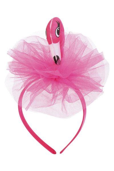Diadeem roze flamingo met tule tropical festival