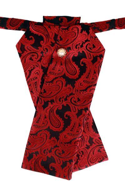 Plastron brokaat stof zwart rood jabot