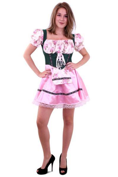 Oktoberfest Dirndl kleedje groen roze met bloemen