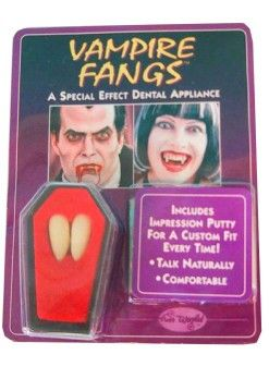 Halloween Vampire teeth 2 pieces in seem coffin incl. Adhesive paste
