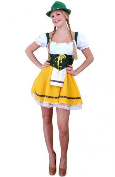 Oktoberfest Tiroler kort Dirndl kleedje geel groen