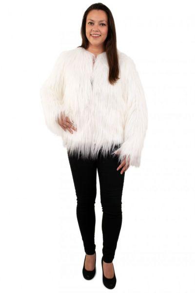 Women's long fur coat white with light