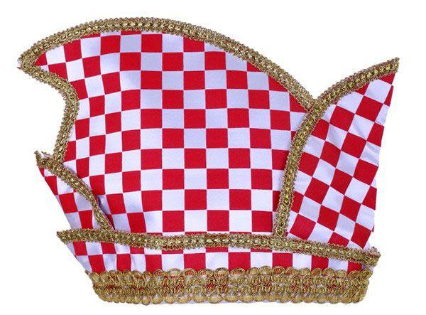 Prinsenmuts rood wit geblokt