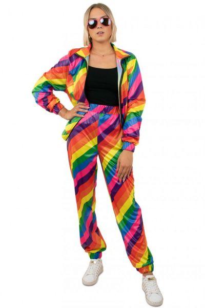 Trainingspak jaren 80 disco regenboog Girl