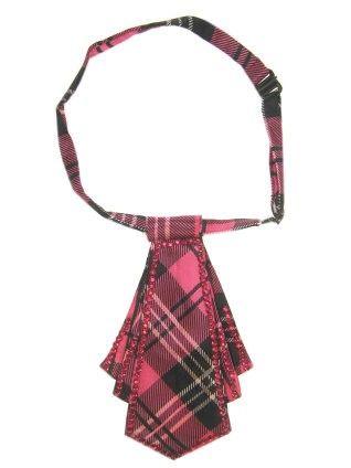 Mini stropdas pink geruit met steentjes