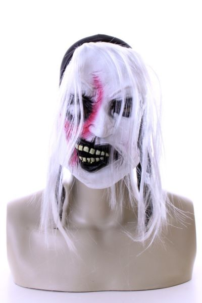 3 white horror masks with hair and blood