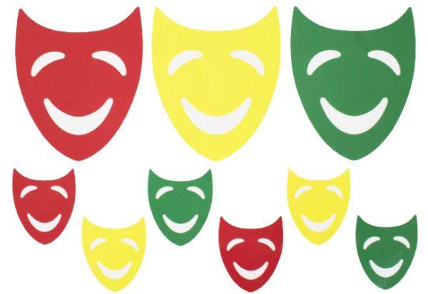Raamsticker maskers rood geel groen