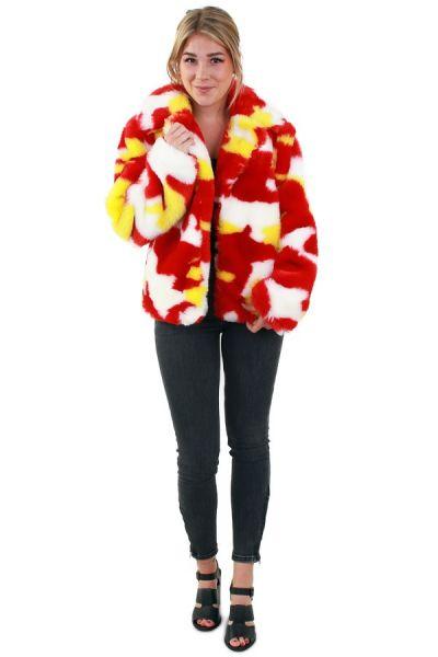 Damesbontjas camouflage rood wit geel