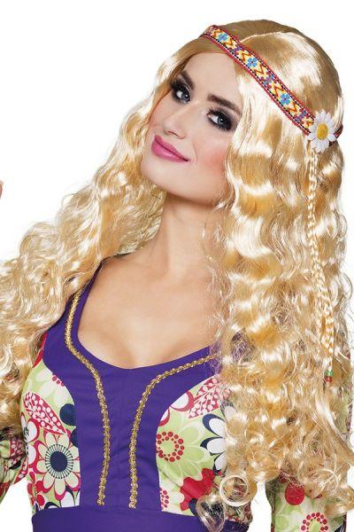 Hippie pruik met hoofdband blond