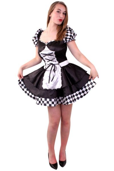 Dark Alice zwart wit geblokt kleedje