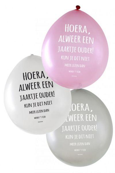 Metallic ballonnen Hoera, alweer een jaartje ouder! per 24 stuks