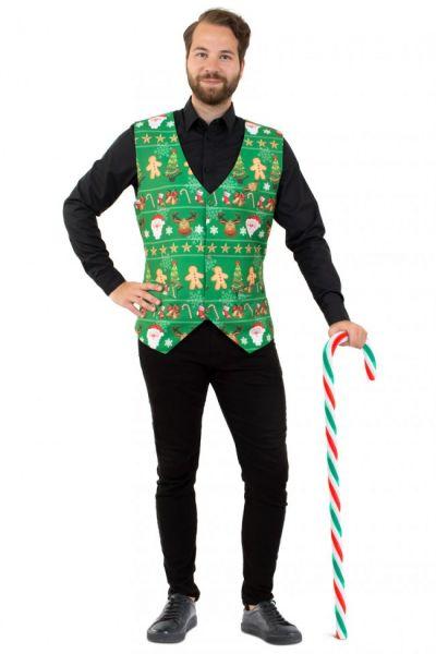 Kerstgilet vrolijk groen vest
