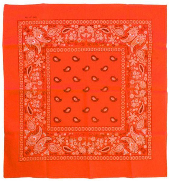 Fluor oranje zakdoeken bandana met motief