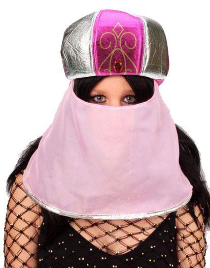 Arabische Suleika hoed roze met sluier